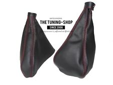 For Alfa Romeo 155 Gear & Handbrake Gaiter Black Genuine Leather Red Stitch