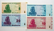 Set of 4 diff. Zimbabwe 2009 1 to 20 Dollars Au-Unc.