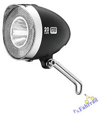 XLC Fahrrad LED Scheinwerfer Retro 20 Lux schwarz für Nabendynamo mit Schalter
