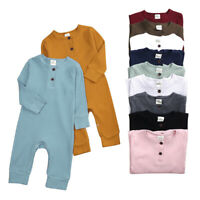 New Baby Girl Boy Romper Bodysuit Solid One Piece Jumpsuits Pajamas Long Sleeve