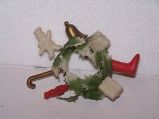 Vtg small plastic candle ring 7 small blowmolds boot package bell snowmen cane
