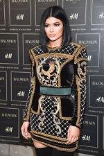 BNWT BALMAIN x H&M Black Gold Velvet Embroidered Beads Eagle Dress EUR 40 US 10
