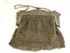 ANTIQUE SILVER PLATE MIXED METAL FILIGREE MESH PURSE LEATHER INTERIOR HANDBAG