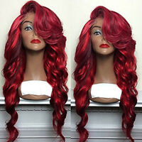 Ombre Mixed Red Full Hair Wigs Heat Resistant Synthetic Lace Front Wig Long Wavy