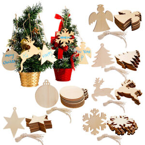 60x Wooden 6 Style Holiday Pattern Christmas Tree Hanging Home Party Decoration