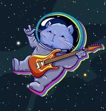"Space Cat Astronaut Punk Rocker Guitar Cute Rock On 3"" Sticker"