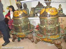 China Royal 100% Pure Bronze cloisonne Elephant Zun Dragon incense burner Censer