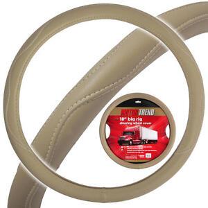 "Heay Duty Big Rig Steering Wheel Covers 18"" Inch ODORLESS Beige Syn Leather"