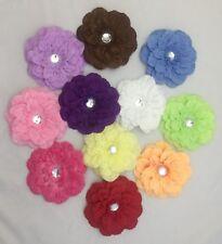 11 pcs Exotic Artificial Silk Flower Gem Hair Clips Barrettes Gymboree Curlies