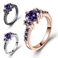 Junxin White Gold Round Cut Purple Amethyst Gem Wedding Band Ring Gift Size 5-10
