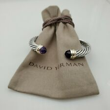 DAVID YURMAN Women's Cable Classic Bracelet with Amethyst & 14K Gold 7mm medium