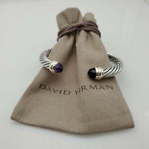 DAVID YURMAN Women's Cable Classic Bracelet with Amethyst & 14K Gold 7mm medium