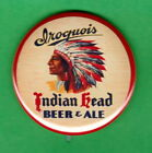 """Iroquois Brewery Early STYLE 2-1/4"""" Colorful Red Rim  Headdres Chief RP PIN Beer"""