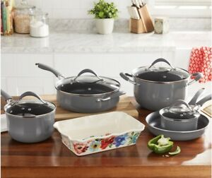 The Pioneer Woman Frontier Speckle Aluminum 10-Piece Cookware Set - Gray