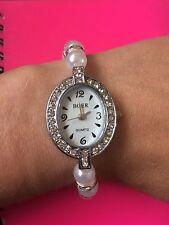Precioso Reloj Blanco Hecho a mano con cuentas de perlas de imitación