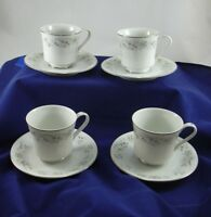 Richmond Diamond China of Japan 4 Coffee Cups Saucers Pink Blue Floral Silver
