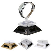 Solar 360° Turntable Rotating Showcase Jewelry Watch Display Stand Mount Holder