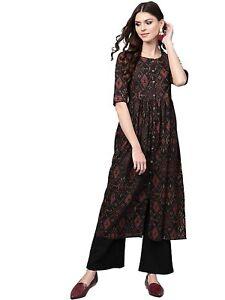 Indian Women Black & Maroon Printed A-Line Kurta Kurti Top Tunic Ethinc Dress