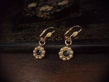 Vintage Montana Blue Crystal & Seed Pearl Drop Pierced Earrings
