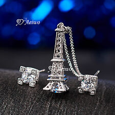 18K WHITE GOLD GF SIMULATED DIAMOND NECKLACE STUD EARRINGS EIFFEL TOWER SET