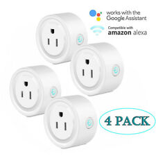 4-Pack Smart Wi-Fi Mini Outlet Plug Switch Works With Echo Alexa Remote Control