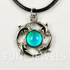 """New Dolphin Mood Necklace Multi Color Changing With 16"""" Black Cord + 2""""extender"""