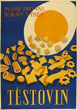 Vtg Orig. Advertising Poster Testovin Pastry Factory, egg, Czechoslovakia