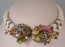Vintage Glass & Rhinestone Flower Necklace Haskell 1940's Masterpiece