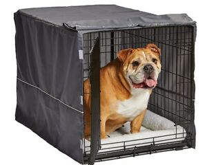 MidWest Dog Crate Cover Privacy Dog Crate Cover Fits MidWest & iCrate Grey