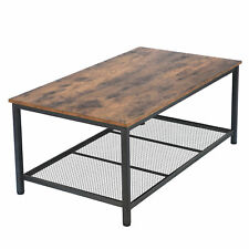 Durable Coffee Table With Storage Shelf For Living Room Wood Look Accent