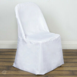 10 pc White Polyester Folding Chair Covers Wedding Reception fq