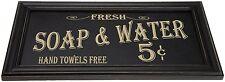Vintage-Style Framed Soap Bath Advertising Sign Washroom or Laundry Decor