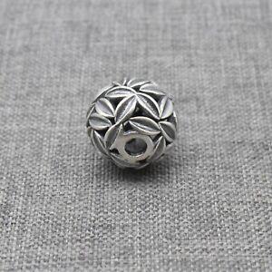 925 Sterling Silver Oxidized Flower Bead for Blossom Floral Leaf Leaves Bracelet