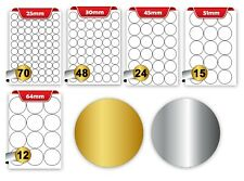 A4 Sheets Metallic Labels Gold Silver Round, Rectangular Blank Address Stickers