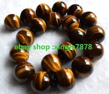 """Natural 10mm Tiger's Eye Round GEMSTONE Beads 15""""aaa"""
