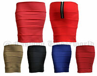 WOMENS LADIES PLAIN JERSEY BODYCON STRETCH SHORT MINI OFFICE PENCIL SKIRT 8-14