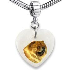 Chow Chow Dog Heart Dangle Mother Of Pearl European Bracelet Charm Bead EBS28