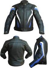 Giacca Moto GIUBBOTTO PELLE NERO-BLUE-BIANCO-3161