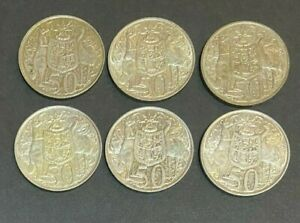 1966 Round 50 Cent Australia Silver coins