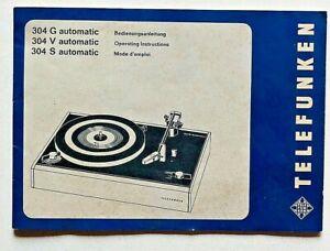 Telefunken 304 G V S automativ Bedienungsanleitung Operating Instruction Manuale