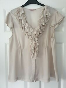 Phase With Ruffle Coffee Cream Top - Size 18