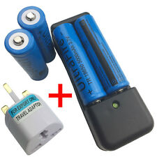 4X 18650 3.7V 5000mAh Li-ion Rechargeable Battery with 4.2V Charger+UK Adaptor