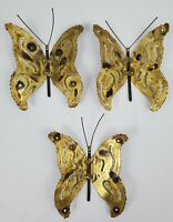 Vintage Brass Butterfly Wall Decor Mid-Century Modern Garden Set of 3