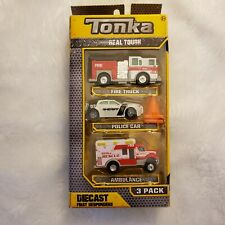 Tonka Diecast - 3 Pack - Fire Truck + Police Car + Ambulance - Toy Cars for Kids
