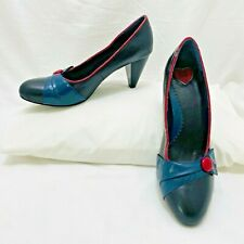 T.U.K. TUK womens pumps heels black leather navy red accents US 10 new WOW!