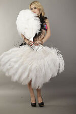 """White 2 layers Ostrich Feather Fan  30""""x 54"""" with gift box Burlesque dance"""