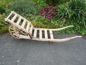 alte Holz-Schubkarre Leiter-Hand-Heu-Wagen,Garten Deko Blumen,Pflanzkübel,um1900