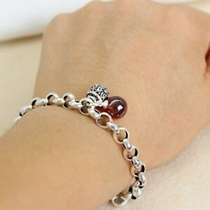 925 Silver Retro Bell Red Beads Bracelet Chain Women Charm Party Jewelry Gifts