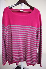 Talbots Rayon Blend Multi-Colored Striped Crew-neck Sweater Size - XL