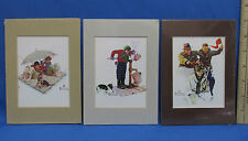"""Set 3 Norman Rockwell Prints Matted 7""""x5"""" Cheering Sport Event Fishing Water"""